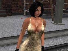 Une jolie brune en robe decollete