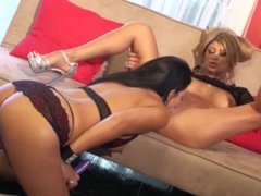 Lisa Daniels demolishes her Asian lover Kayme Kias tight pussy with toys