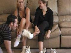 Sniffing stinky gym feet