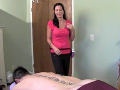 Sexy Massage therapist Zoey Holloway gives handjob until huge cock cums