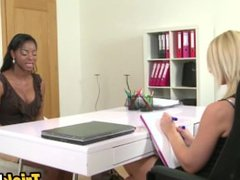 Black doll enjoys blonde's shaved pussy in real lesbian show