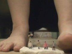 Giantess Crushes Tiny Men with Feet