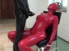 Abused in latex with blowjob