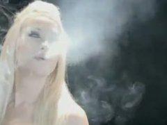 Sexy Blonde Model Smoking Fetish
