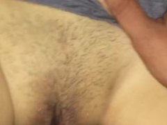 Asian wife creaming on cock and cum on her pussy