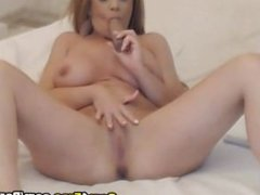 Pretty Sexy Busty Babe Pleasures Herself