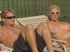 Sexy Couples Tan Their Bodies Before Having Hot Swinger Orgy