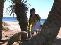 Pretty russian girl has sex on Taba Beach