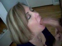 Blonde sucks big white cock