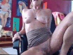 British Mature Blonde MILF Riding Dildo & Anal Play