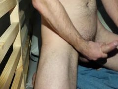 Gay aussie boy jerks and cums on bed