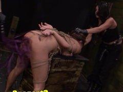 Asian sub slut dominated in trio by strapon