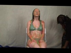 Cute brunette fully nude masturbation in rainbow colored gallons of slime