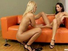 Hot bodies Suzi and Winona use two dildos by Sapphic Erotica