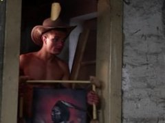 Cowboy threesome in a hot bare action