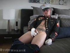 Marine Quinn in uniform jerks off a thick load
