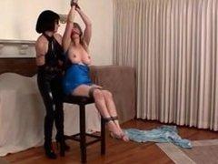 woman on stool
