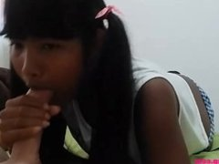 Tiny Asian Thai Teen Heather Deep Gets Creampie after Webcamming fans