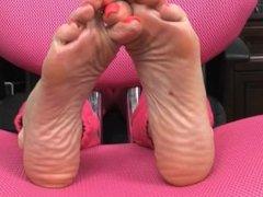 Pink Long Toenails Tease