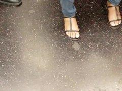 Nice candid ebony feet on the train
