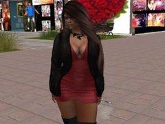Une femme virtuelle cheveux chatain en mini robe rouge décollete