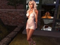 Une jolie blonde virtuelle en sous vetement rose