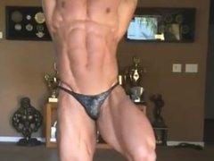 Bodybuilder Posing before show