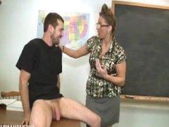 Fatal milf handjob in classroom