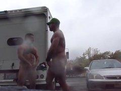 Dois machos no parque de estacionamento
