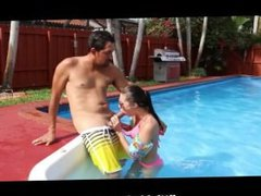 Tiny Teen fucked at the Pool by her Instructor