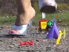 Giantess Lady Shiva crushes toys