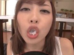 Ayu Sakurai eating food with sperm 3
