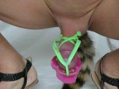 sissy masturbation in flipflops anal plug