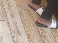 Candid ebony hood chick feet at wendys