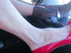 modeling and putting on my Stuart Weitzman red pumps