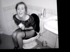A girl on a toilet cum tribute 25