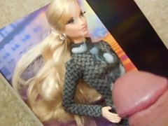Blonde Barbie in Tight Dress and Nylons Gets Covered in Jizz