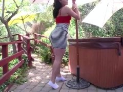 Big booty white girl Gracie Glam fucked outdoor