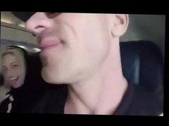 Blonde chick blows a cock in a plane cabin