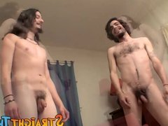 Horny sexy twinks Devin and Max watch each other pissing