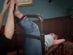 Curvy blonde is tickle tortured