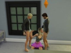 The Sims 4 Porn: Slut sucks off two hunks in the living room