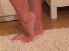 Footjob from sexy blond girl , cum on toes
