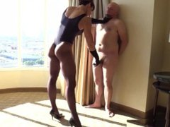 Muscular Mistress Punishes and Humiliates Fat Slave