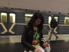 Jeny Smith flashing in the Moscow subway