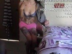 Tank Strips and Fingers Herself Hot Teen Masturbation
