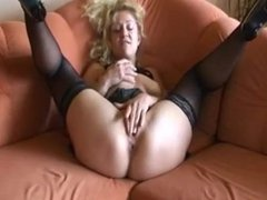German Mom playing  with her self