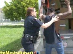 Sex Crazed Female Police Officers Suck Criminal With Huge Ebony Cock