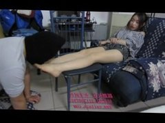 chinese young goddess order her slave foot licking