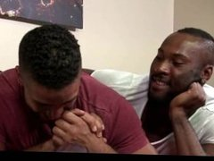 Sexy ebony gays having anal sex in bed